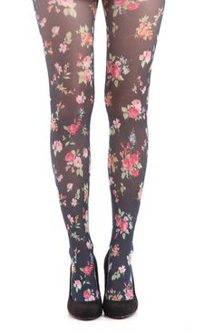 Floral tights to wear under skirts to be more modest (link leads to furniture store)