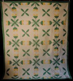 1900's Visual Appliqued Tulip Design Quilted Quilt   eBay