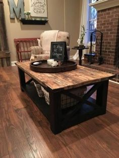 Coffee table is one's favorite to start the day. Learn how to decorate your coffee table design like a pro to give the most of your coffee time experience. Home Diy, Rustic House, Decorating Coffee Tables, Home And Living, Furniture, Home Decor, Coffee Table, Coffee Table Farmhouse, Coffee Table Plans