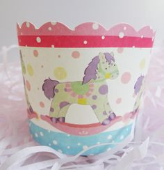 Rocky the Pony Baking Cups for Cupcakes & Muffins  Rocking horse pink paper baking cup. Dress up your cupcakes and muffins with this cutie! International shipping available. Visit site for more details!