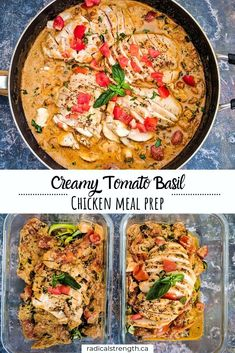 Healthy Creamy Tomato Basil Chicken Meal Prep - Radical Strength - Creamy, healthy, garlic, tomato basil chicken meal prep with zucchini noodles. An easy to make meal - Lunch Meal Prep, Easy Meal Prep, Healthy Meal Prep, Healthy Eating, Healthy Weeknight Meals, Meal Prep For Dinner, Easy Healthy Weeknight Dinners, Meal Prep Low Carb, Healthy Low Carb Meals
