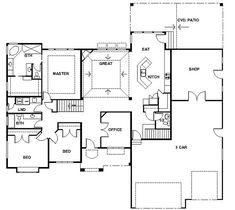 Single story open floor plans one story 3 bedroom 2 for Small rambler house plans