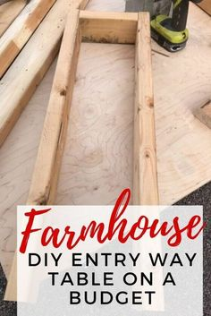 DIY Farmhouse Entry Way Table : Do it yourself DIY entry way table. This is the perfect project if love rustic farmhouse decor in your home. If you have a small entrance then this is narrow enough to fit. Build A Farmhouse Table, Rustic Farmhouse Decor, Farmhouse Furniture, Farmhouse Design, Farmhouse Ideas, Modern Farmhouse, Farmhouse Budget, Rustic Farmhouse Entryway, Vintage Farmhouse