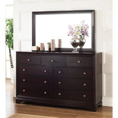 kingston espresso finish ninedrawer dresser and mirror set this set features solid oak wood and is perfect to update any bedroom decor