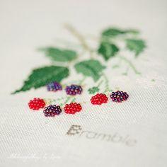 Bramble, Raspberry, Blueberry (Kazuko Aoki), Belfast Platinium Linen, DMC, Mill Hill Beads