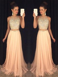 Halter Two Piece Prom Dresses, Formal Dresses, Graduation Party Dresses, Banquet Gowns on Luulla