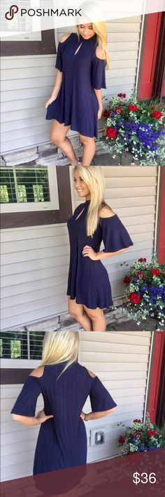 Navy Keyhole Dress A Line Cold Shoulder Short Sleeve Keyhole Dress   60% Cotton 40% Polyester Dresses