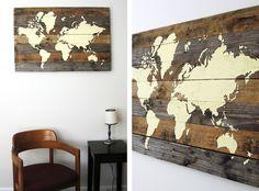 "DIY Pallet Board World, great for older boys bedroom, would be cute with ""I hope they call me on a mission"" quote"