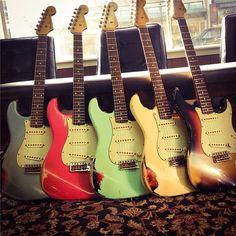 Fender Custom Shop John Cruz Strats - Wildwood Guitars Guitar Shop, Music Guitar, Cool Guitar, Acoustic Guitar, Guitar Art, Fender Stratocaster, Fender Guitars, Bass Guitars, Vintage Electric Guitars