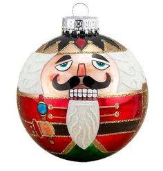 Kurt Adler Glass Nutcracker Ball Ornament