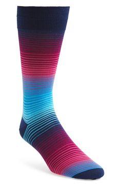Men's Bugatchi Stripe Cotton Blend Socks - Red