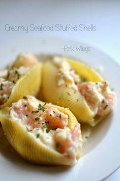 Pink Wings: Creamy Seafood Stuffed Shells