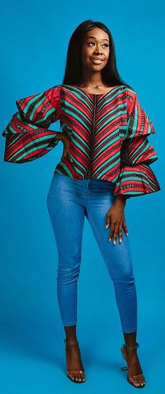 African print top -Made with cotton high quality African print wax fabric African Fashion Ankara, Ghanaian Fashion, African Inspired Fashion, African Print Dresses, African Print Fashion, Africa Fashion, African Dress, Nigerian Fashion, African Prints