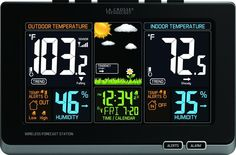 Wireless Atomic Digital Color Forecast Station Indoor Oudoor Temperature Alerts #LaCrosseTechnology