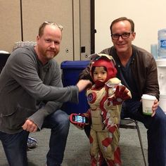 Joss Whedon  Clark Gregg and mini Iron Man.  How can you NOT love this picture?