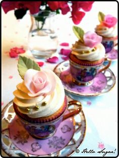 Teacup Cupcakes Coconut Cupcakes filled w fresh Strawberries and Lemon Swiss Meringue Buttercream Elegant Cupcakes, Love Cupcakes, Cupcake Cookies, Teacup Cupcakes, Party Cupcakes, Cupcake Bakery, Cupcake Art, Cupcake Toppers, Coconut Cupcakes