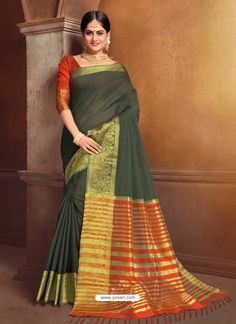 Asthetic Mehendi Cotton Saree Party Wear Sarees, Indian Ethnic Wear, Cotton Saree, Mehendi, Sari, Model, How To Wear, Collection, Fashion