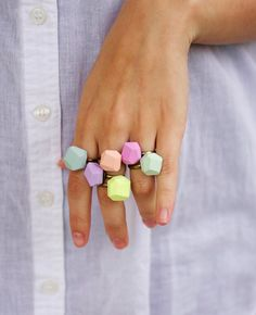 cool geo pastel rings {a merry mishap on etsy}