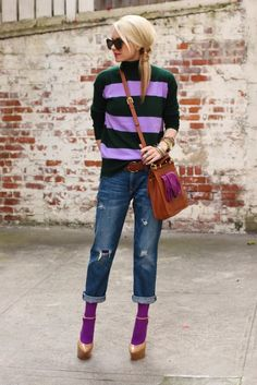 jcrew cashmere rugby-stripe turtleneck 57873 styled by Atlantic-Pacific: casual crew pbh color code pine bough hyacinth