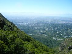View from Table Mountain Kirstenbosch side on the Cape Town suburbs.