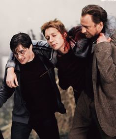 Harry and Remus carry George into the Burrow after the Battle over Privet Drive.