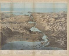 Map showing a bird's eye view of Suez Canal, which opened today in 1869. http://hvrd.me/DKR7M