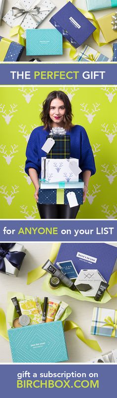 "The best gift just got better. Start your giftee's Birchbox subscription (available in 3-, 6-, or 12-month options!) with one of our exclusive holiday boxes featuring fun, festive packaging and filled with five top-rated and on-trend beauty samples. Click through to choose your recipient's first box and start crossing names off your ""nice"" list."