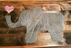 Elephant string art. Nursery wall decor. Easy and fun Elephant Baby Rooms, Elephant Baby Showers, Elephant Nursery Wall Decor, Elephant Wall Art, Nursery Crafts, Elephant Stuff, Paisley Nursery, Nursery Ideas, Ikea Nursery