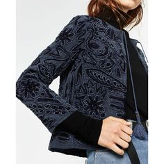 EMBROIDERED JACKET - View all-OUTERWEAR-WOMAN   ZARA Lithuania (1.180 ARS) ❤ liked on Polyvore featuring outerwear, jackets, embroidered jacket, embroidery jackets and blue jackets