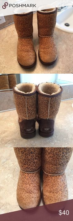 🐾UGG Classic Short UGG Classic Short (leopard print, size 7) Used condition, fits closer to size 8 based on wear. Print has lightened in the toe areas from wear. UGG Shoes Winter & Rain Boots