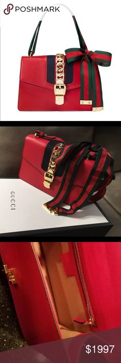 """Authentic Gucci Sylvie Dual Strap Shoulder Bag New Gucci Sylvie leather structured shoulder bag with two interchangeable straps, one in hibiscus red leather the other in green and red ribbon. Made in Gucci's smooth, classic leather.    Camel microfiber lining with a suede-like finish.  Includes two shoulder straps: detachable leather shoulder strap with 13.5"""" drop, detachable Web shoulder strap with 6.3"""" drop.  Interior open and smartphone pockets.  10""""W x 6.75""""H x 3""""D.  Made in Italy…"""