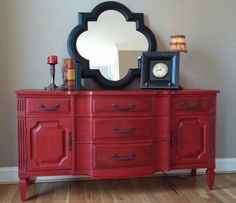 Buffet finished in Annie Sloan Emperors Silk Graphite ~ Decor, Furniture, Redo Furniture, Red Painted Furniture, Repurposed Furniture, Red Furniture, Furniture Rehab, Cool Furniture, Vintage Furniture