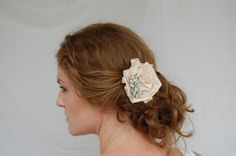 Champagne Rosette Hair Comb Flower or by beanandthesprout on Etsy, $45.00