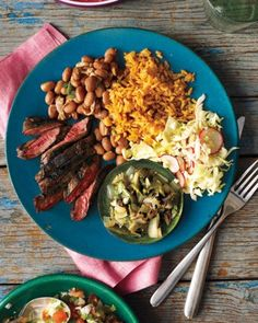 Grilled Skirt Steak with Poblano Relish - Skirt steak marinated in a savory sweet blend of pineapple juice and soy sauce gets a smoky, spicy kick from charred poblanos and onions.