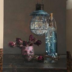 """Brain Power"" 13""x16"" #oilpainting by @debrakeirce  #classicalrealism #classicalstilllife #steampunk #steampunkart #roses #electric"