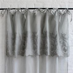 Biggie Best is a vintage inspired homewares company selling unique and eclectic products that are practical but also beautiful for the homeA delicate grey band with embroidered detail tops this pretty tie top voile. A lightweight panel per