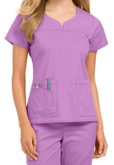 by Med Couture Lexi notch neck scrub top Scrubs Outfit, Scrubs Uniform, Scrubs Pattern, Stylish Scrubs, Iranian Women Fashion, Nursing Wear, Medical Uniforms, Womens Scrubs, Uniform Design