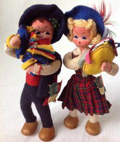 Vintage Maria Helena Handmade Cloth Dolls Portugese Boy and Girl Musicians