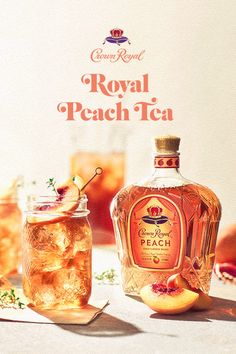 Royal Peach Tea Ingredients - oz Crown Royal Peach - oz Iced Tea - Fresh Lemon Instructions - Fill glass with crushed ice - Add whisky and iced tea - Stir gently - Garnish with a Peach Drinks, Summer Drinks, Liquor Drinks, Alcoholic Drinks, Cocktails, Bourbon Drinks, Keto Desserts, Party Drinks, Fun Drinks