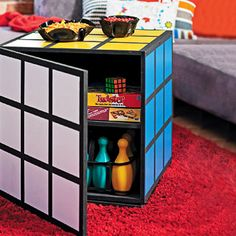 DIY Rubik's Cube table funky and retro that also doubles as storage space is the perfect colourful addition to any play or game room -- instructions