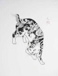 Japanese Embroidery Tiger Dragon Cat Large Print - Large Print - for easy framing! Japanese Tattoos For Men, Japanese Tattoo Art, Japanese Tattoo Designs, Japan Illustration, Kitten Tattoo, Dragon Cat, Asian Cat, Kunst Tattoos, Japanese Cat