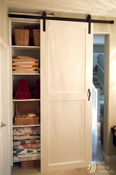 Double duty with the linen closet and door opening, although my linen closet never quite looks that neat....