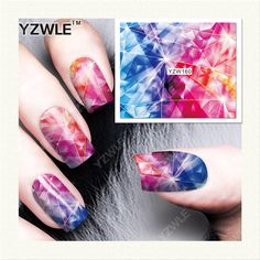 YZWLE 1 Hoja de Etiquetas de DIY Uñas de Arte de Transferencia de Agua de Impresión Pegatinas Accesorios Para Manicura Salon (YZW-160)