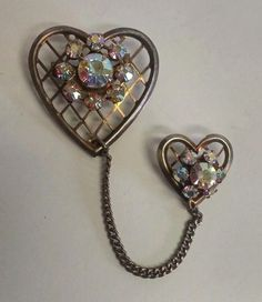 Vintage Double Heart Aurora Borealis Rhinestone Chain Mother's Day Brooch Pin