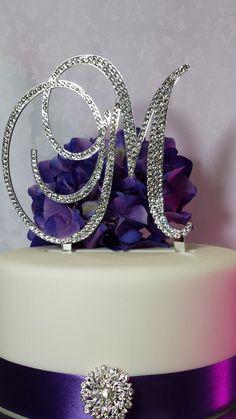 6 Tall Initial Monogram Cake Topper Crystal by SpectacularEvents