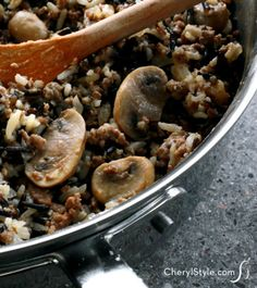 This wild rice casserole with fresh mushrooms and hamburger can be served as a main course or a side! - Everyday Dishes & DIY