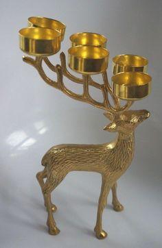 LOVELY CHRISTMAS BRASS? REINDEER TEA LIGHT HOLDER: HOLDS SIX TEA LIGHTS | eBay