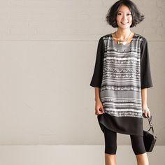 Korean Style Maxi Size Printing Black Casual Loose T-shirt Women Tops C702A