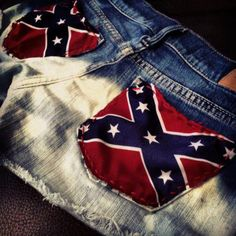 Confederate flag shorts. just cut out bandana to fit the pockets!