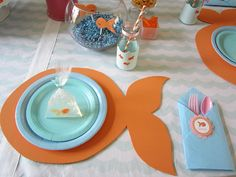Adorable girlie goldfish birthday party place settings